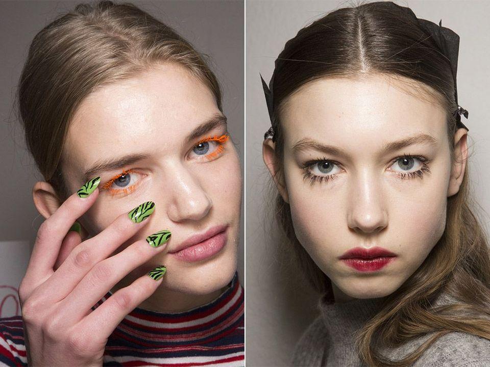 Тренд 7 - «Склеенные» ресницы разной тушью Модные тенденции макияжа осень - зима 2017 - 2018